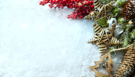 Christmas Light background. Xmas tree with snow decorated with garland star lights, holiday festive backdround. New year Winter or Christmas scene Reklamní fotografie