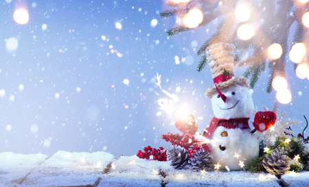 Snowman and Christmas tree decoration  background