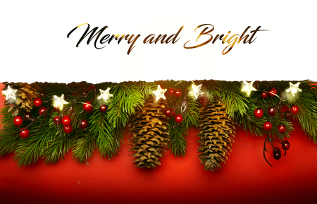 Merry Christmas; Holidays background with Xmas tree decoration on red background
