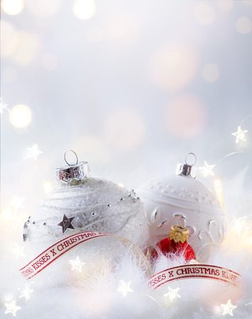 Christmas background with holidays party decoration and christmas tree light Reklamní fotografie