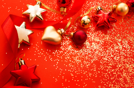 Christmas holidays composition on red background with copy space for text
