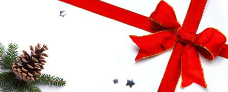 Christmas holidays ornament flat lay; Christmas banner or  greeting card background Reklamní fotografie