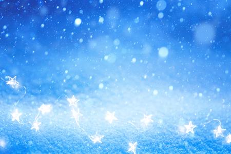 Christmas Light on blue snow Reklamní fotografie