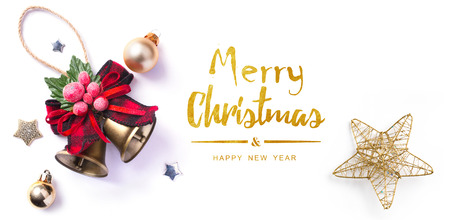 Christmas greeting card; Christmas element on white