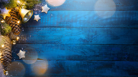 Christmas tree on blue wooden