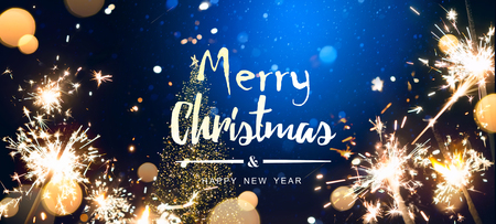 Abstract Christmas  with Christmas tree light and holidays magic flare