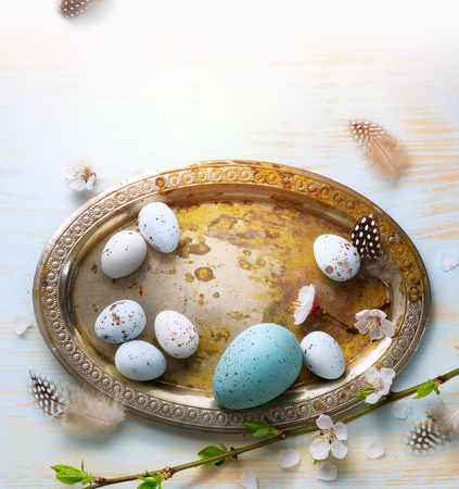 Easter Eggs with Spring Flowers on White Wooden Background  Imagens