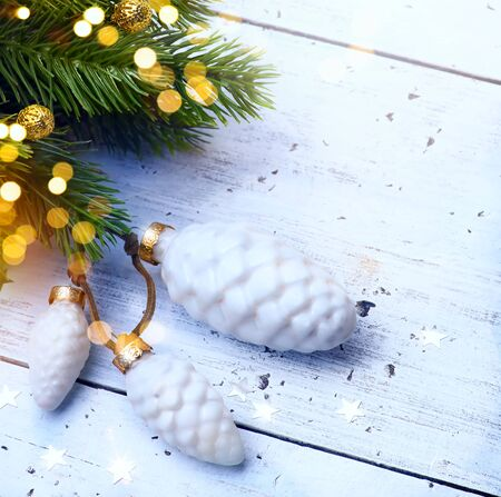 Christmas holidays decoration. Christmas and New Year holidays background with Christmas Tree and holiday light, winter season