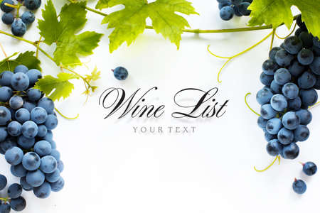 wine list background; sweet black grapes and red wine bottle