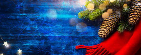 Christmas Tree Decoration On Blue Wooden Background