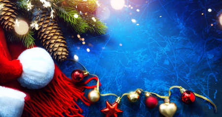 Art Merry Christmas and Happy New Year greeting card background Stockfoto