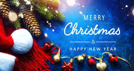 Art Merry Christmas and Happy New Year greeting card background Standard-Bild