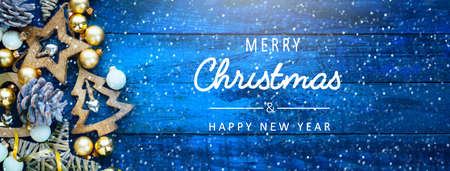 A Blue Christmas banner with decoration