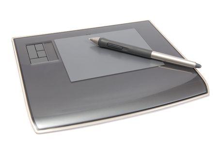 digitizer: digitizer with pen isolated on white background