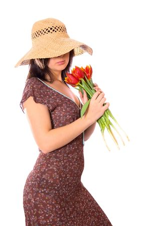 woman with tulips on white background Stock Photo - 2797316