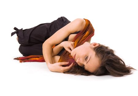 pity: sad girl lying on the floor