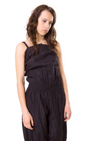 despondency: melancholy woman in black clothes