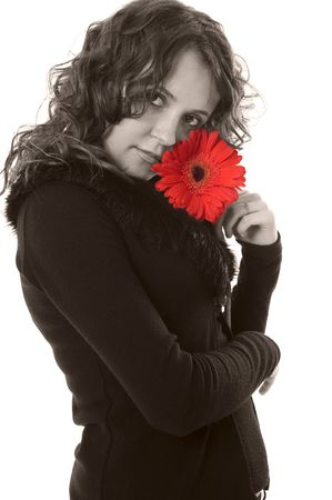 sepia beautiful woman with red flower Stock Photo