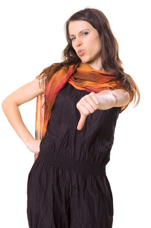 young woman showing thumbs down Stock Photo - 3040902
