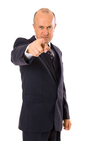 disdain: Asegur� el empresario que apunta a usted. aislados en blanco  Foto de archivo