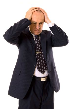lament: businessman had big problems. isolated on white Stock Photo