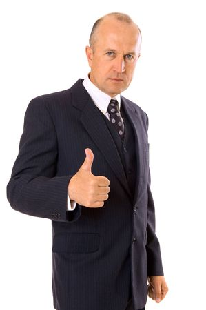 businessman showing thumbs up. isolated on white photo