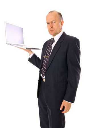 businessman standing and holding laptop. isolated on white photo