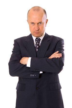prospection: serious businessman looking at camera. isolated on white