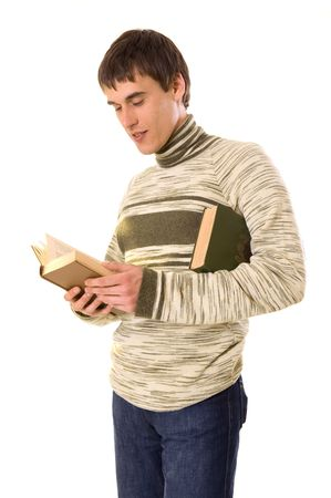 young man standing and reading the book. isolated on white photo