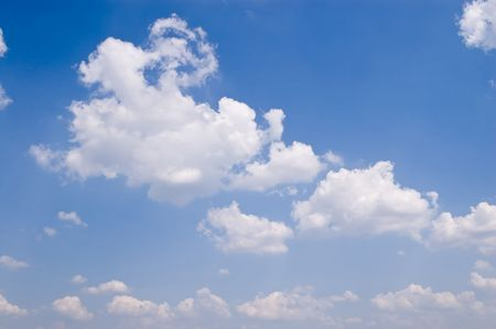 pacification: view of blue sky with white clouds