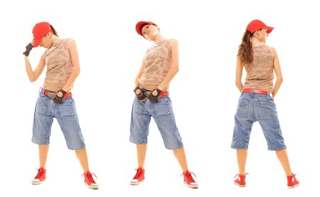 attractive breakdancer posing. isolated on white