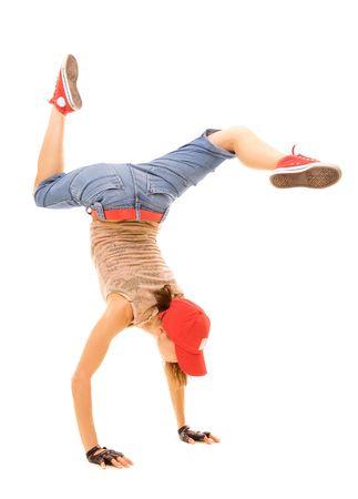 rowdy: breakdancer de pie en congelaci�n. aislados en blanco