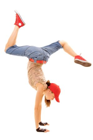 breakdancer head over heels. isolated on white photo