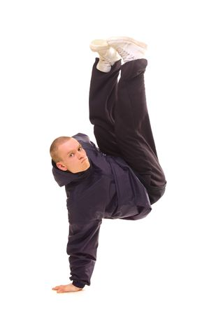 rowdy: bailarina de pie en un lado. aislados en blanco
