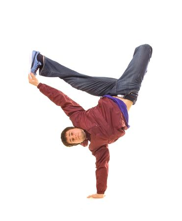 Rowdy: hip-hop dancer standing in freeze on white background