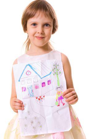 boast: bambina sua azienda immagine. su sfondo bianco  Archivio Fotografico