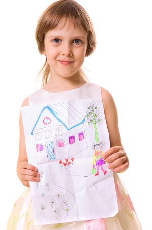little girl holding her picture. over white background photo