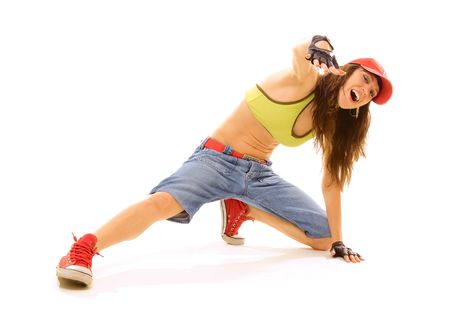 roughneck: lively dancer sitting on the floor. isolated on white Stock Photo