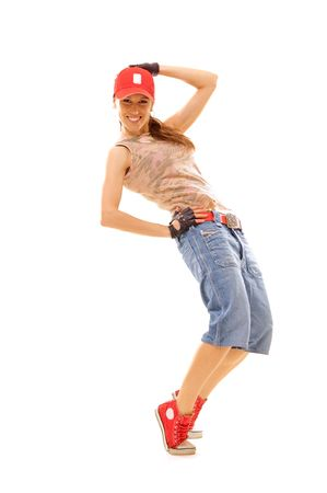 roughneck: slim dancer in red cap. isolated on white Stock Photo