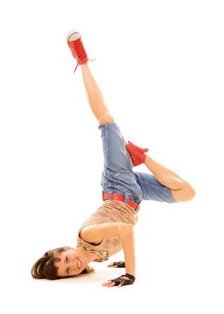 smiley breakdancer in freeze. isolated on white photo