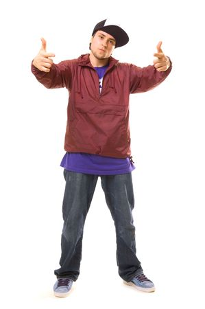 Rowdy: tough guy pointing at something. isolated on white