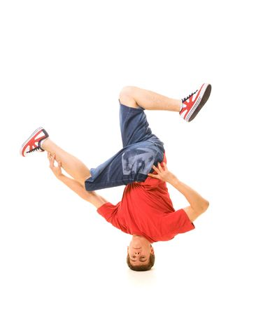 Rowdy: b-boy freeze on head. isolated on white