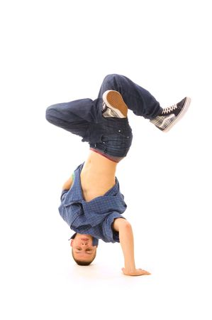 rowdy: fresco b-boy en la danza. aislado en blanco
