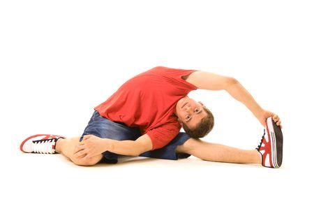 rowdy: chico en rojo camiseta de formaci�n. aislados en blanco  Foto de archivo