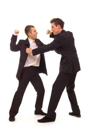 struggle between two businessmen. isolated on white Stock Photo - 3295254