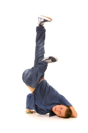 roughneck: cool breakdancer posing on white background Stock Photo