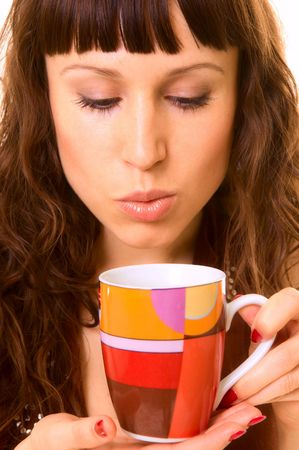 attracive: attracive girl with cup of hot tea. close up Stock Photo