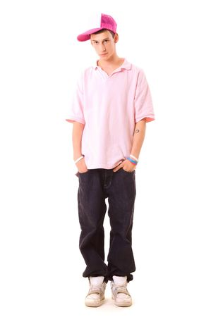 serious teenager in hip hop wear. isolated on white photo