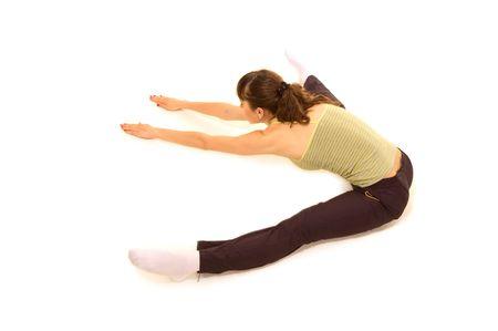 sportswoman doing flexibility. isolated on white Stock Photo - 3298171