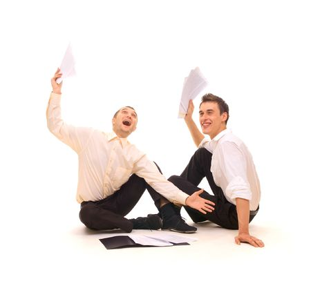 two joyful businessmen. isolated on white photo